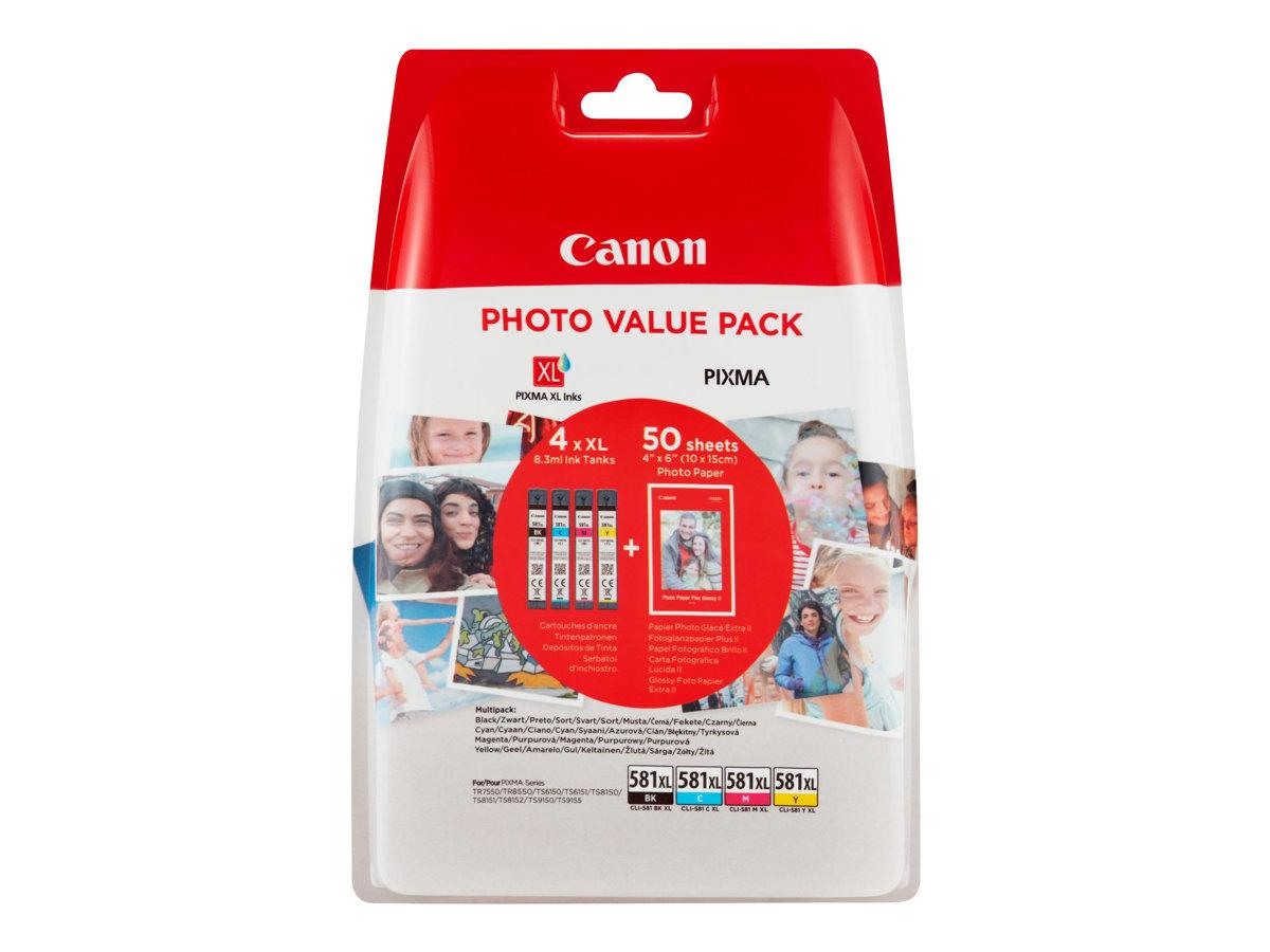 produkt-foto van 'Canon cli-581xl-4-pack - foto-papier, zwart, cyaan, magenta & geel, ong. 1.470p'