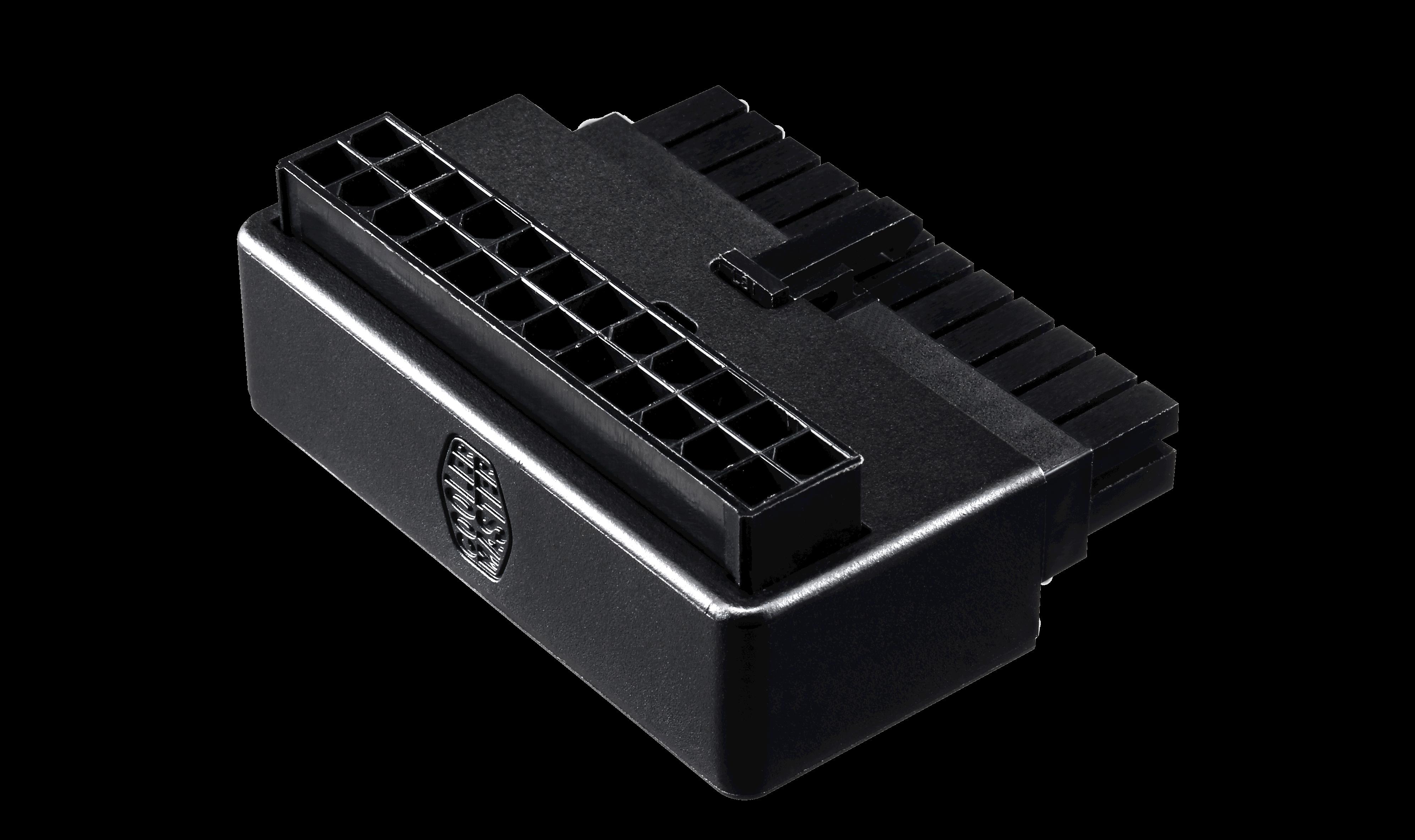 produkt-foto van 'Voedingsadapter - haaks, moederbord 24-pin voeding, zwart, met condensatoren'