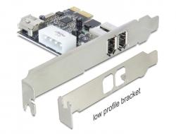 produkt-foto van 'DeLock FireWire kaart - 2x 6-pin extern + 1x 6-pins intern, IEEE 1394a, Pci-E x'