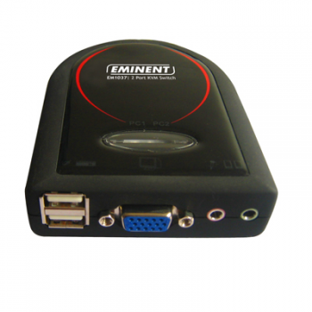 produkt-foto van 'Eminent KVM-switchbox, 2-poorts - USB+Audio, incl kabels'