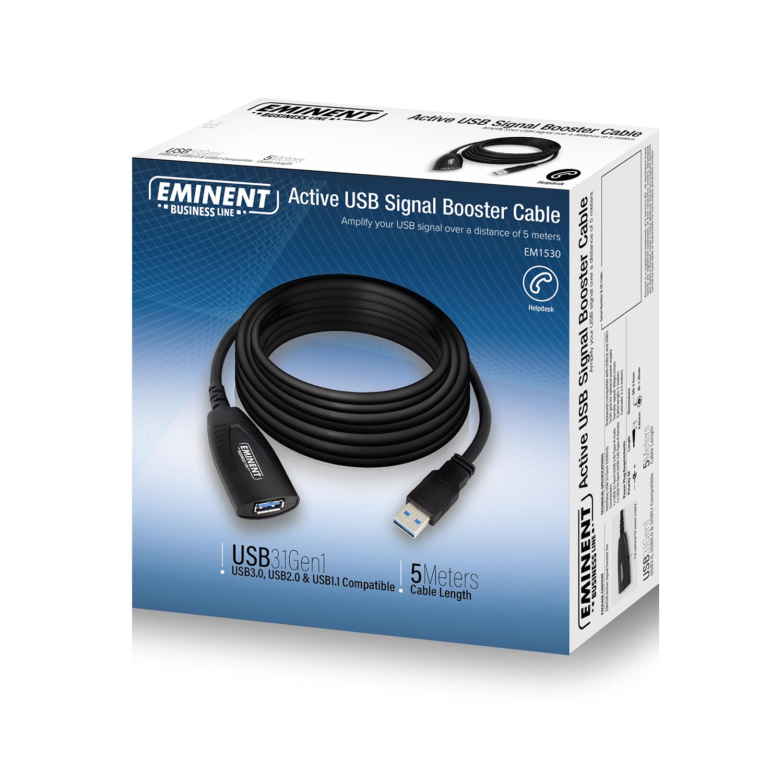 produkt-foto van 'Verlengkabel USB 3.0 - type A, lengte 5m, zwart, met booster'
