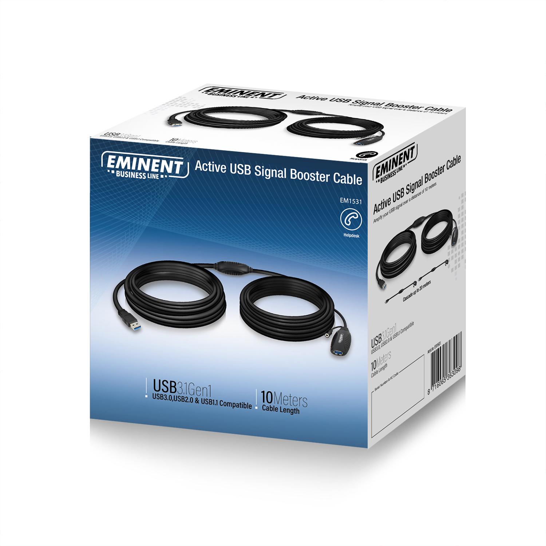 produkt-foto van 'Verlengkabel USB 3.0 - type A, lengte 10m, zwart, met booster'