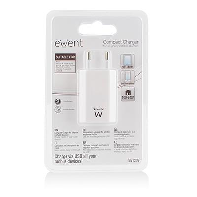 produkt-foto van 'Ewent oplader - 1x USB, max 1a, voor o.a. smartphones'