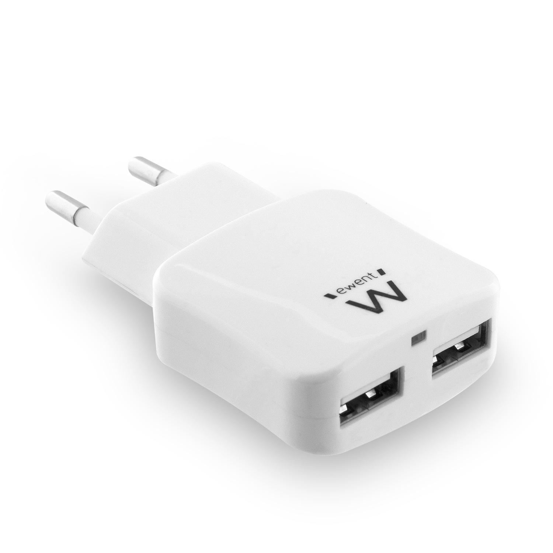 produkt-foto van 'Ewent oplader - 2x USB, max 2.4a, voor o.a. smartphones & tablets'