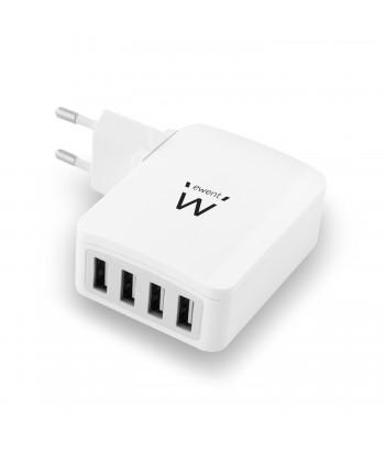 produkt-foto van 'Ewent oplader - 4x USB, max 6a, voor o.a. smartphones & tablets'