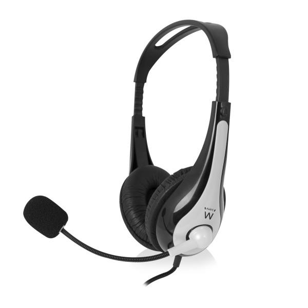 produkt-foto van 'Ewent Headset - Stereo, incl. microfoon, zwart/zilver, bedraad'