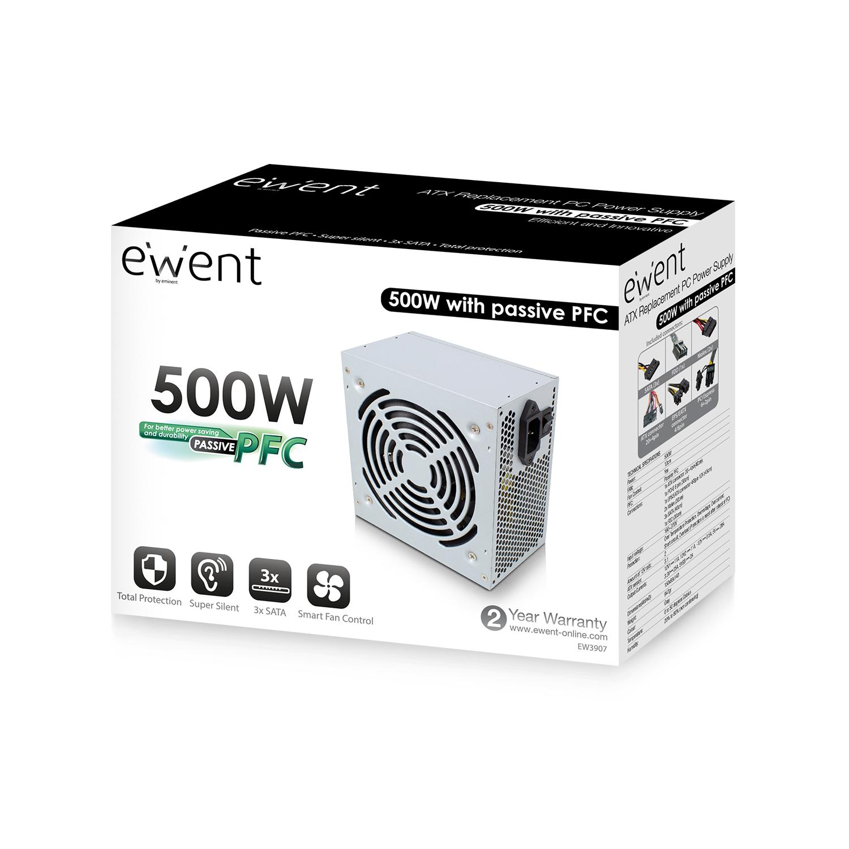 produkt-foto van 'Ewent 500 Watt voeding - fan 12cm - s-ata - 20/24 pins'