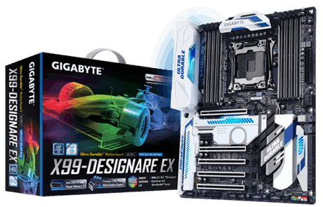 produkt-foto van 'Gigabyte R moederbord - ga-x99-Designare EX, lga 2011-v3, 8x ddr4, 6x sata, gl'
