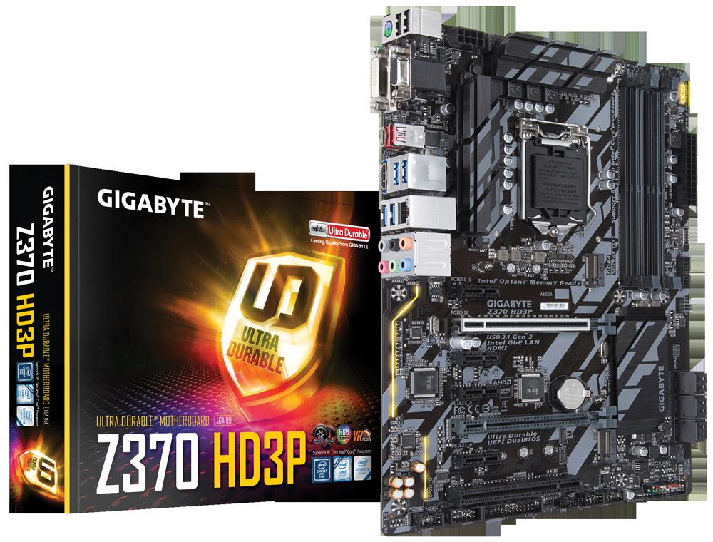 produkt-foto van 'Gigabyte H4 moederbord - ga-z370-hd3p, lga1151, 4x ddr4, 6x sata, 6x usb'