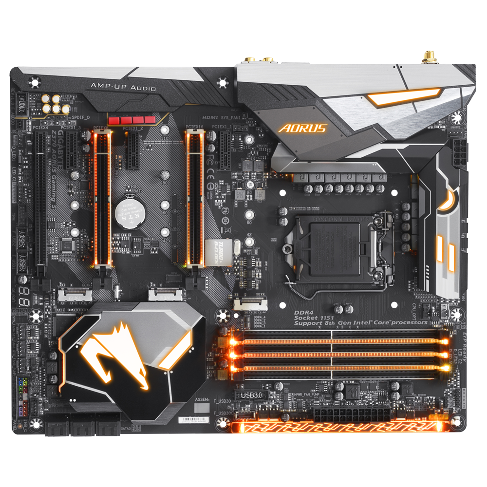 produkt-foto van 'Gigabyte moederbord - ga-z370 Auros Gaming 5, lga1151, 4x ddr4, 6x sata'