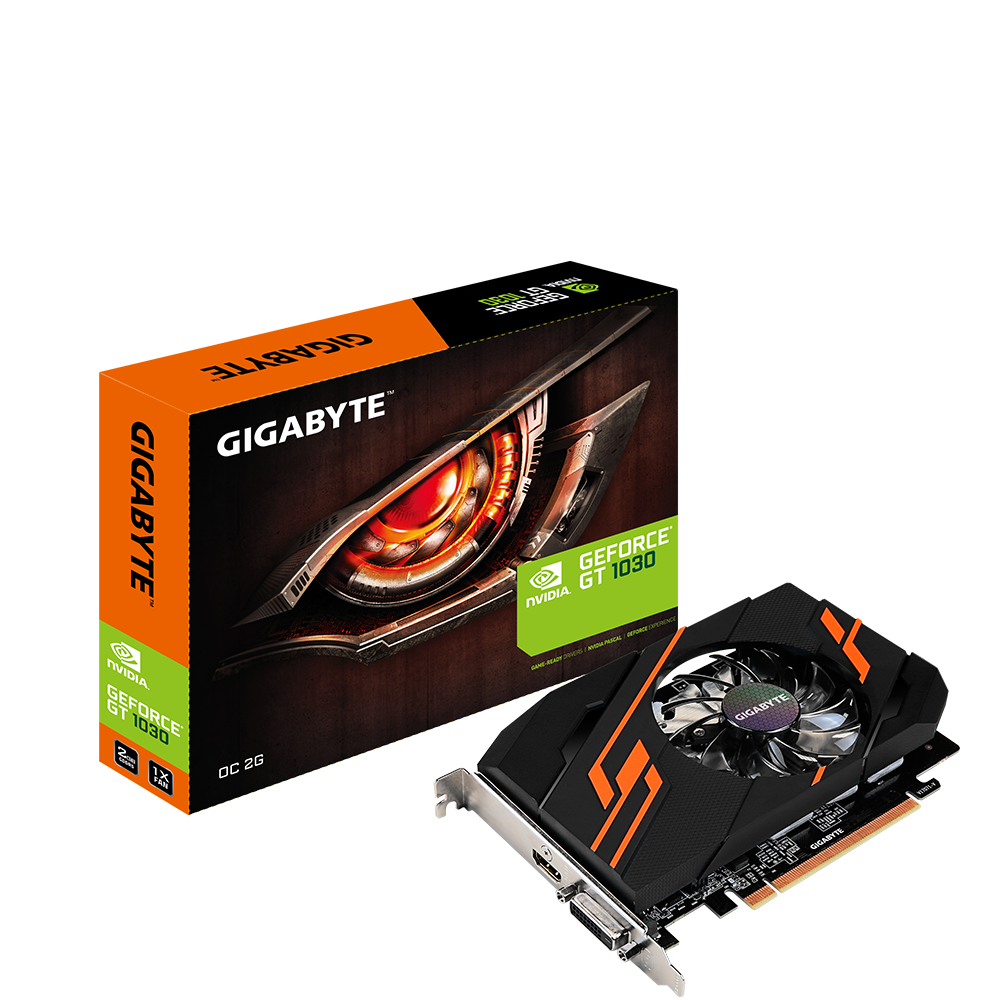 produkt-foto van 'Gigabyte Geforce video-kaart - gv-n1030oc-2gi, 2gb, pci-e2, dvi & hdmi'