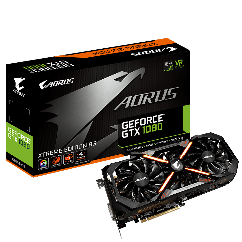 produkt-foto van 'Gigabyte Geforce video-kaart - gv-n1080aorus x-8gd, 8gb, dvi/hdmi/dp'