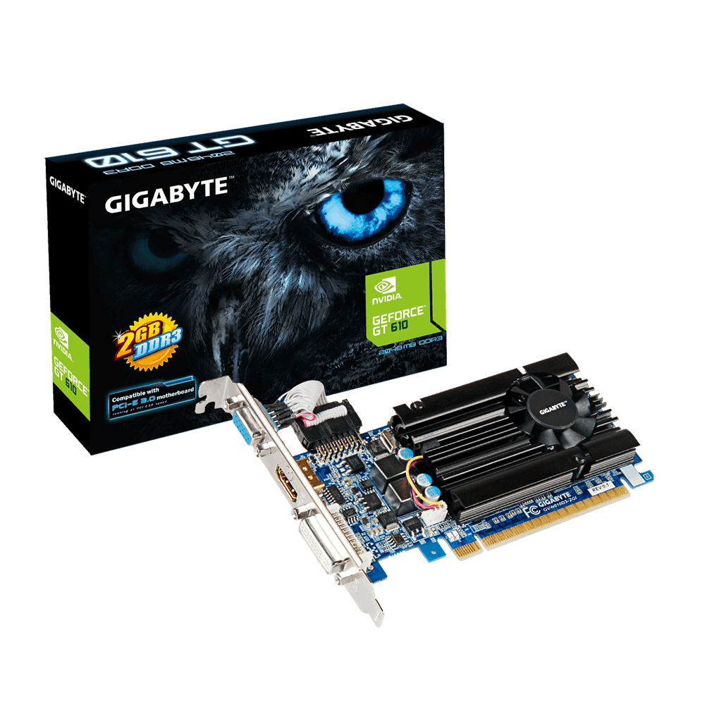 produkt-foto van 'Gigabyte Geforce video-kaart - gv-n610d3-2gi, 2gb - pci-e, vga, dvi & hdmi - lp'