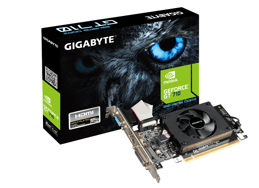 produkt-foto van 'Gigabyte Geforce video-kaart - gv-n710d3-2gl, 2gb, pci-e2, vga, dvi & hdmi'