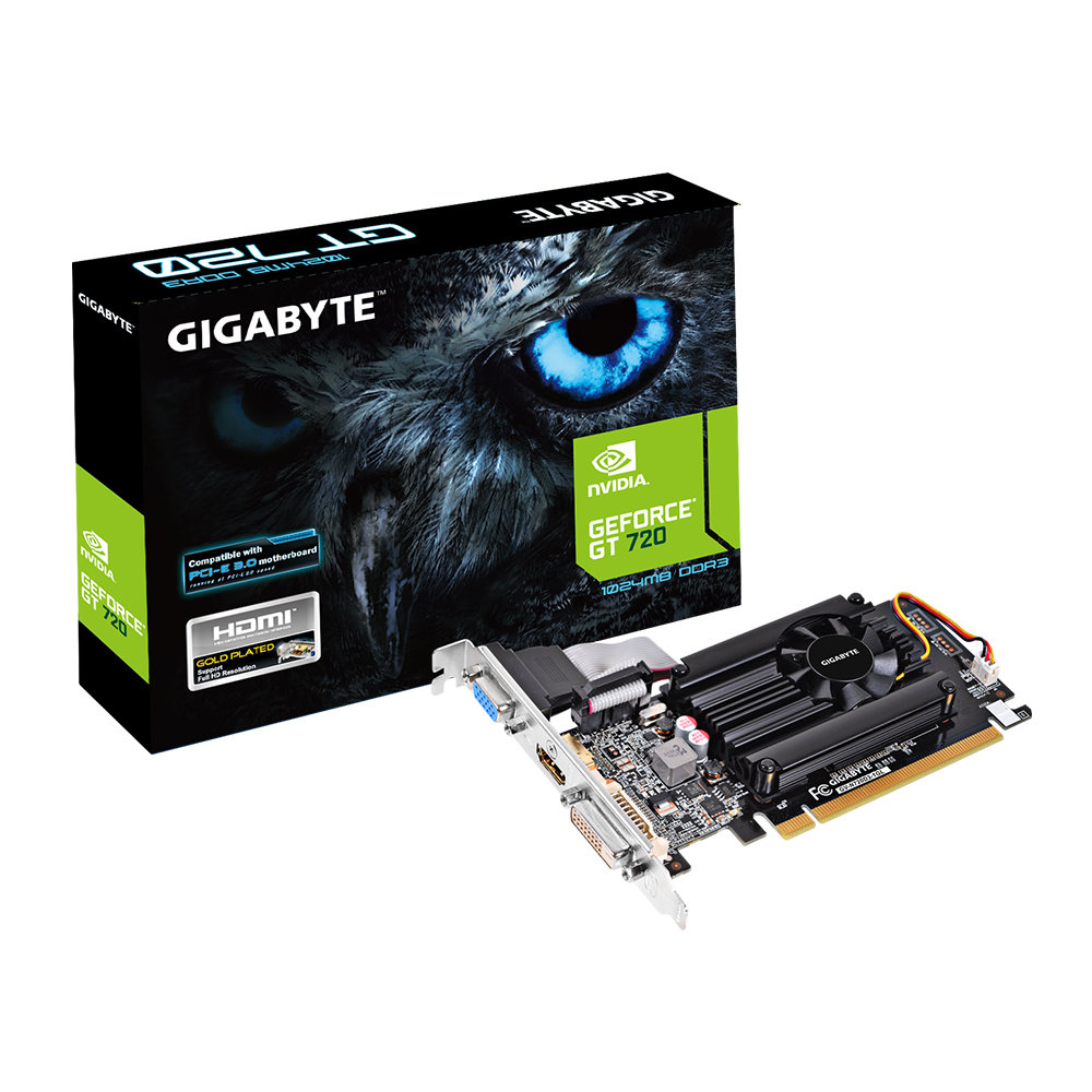produkt-foto van 'Gigabyte Geforce video-kaart - gv-n720d3-1gl, 1gb, pci-e2, vga, dvi & hdmi'