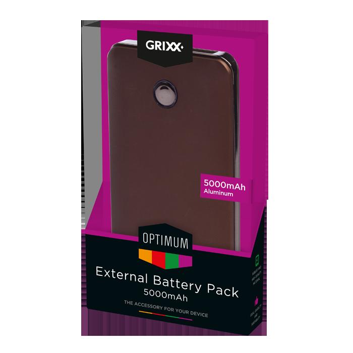 produkt-foto van 'Grixx Optimum Externe Batterij - 5000mAh (bruin)'
