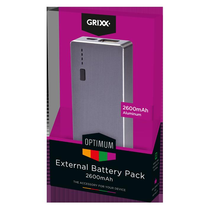 produkt-foto van 'Grixx Optimum Externe Batterij - 2600mAh (grijs metalic)'