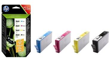 produkt-foto van 'HP 364xl - sm596ee, combi-pack, zwat + 3x kleur'