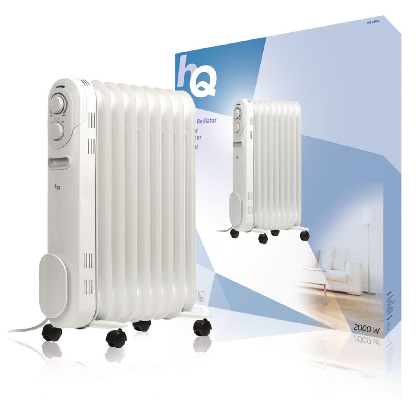 produkt-foto van 'HQ mobiele radiator, vermogen 2000 W, 9 ribben, olie-gevuld'