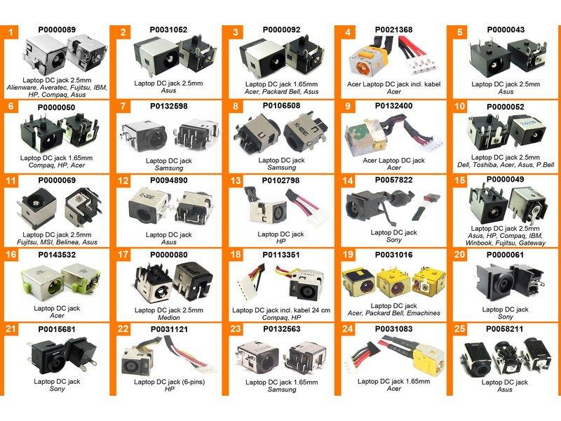 produkt-foto van 'Laptop DC Jack - doos met 25 verschillende voedingspluggen, 2 stuks per type'