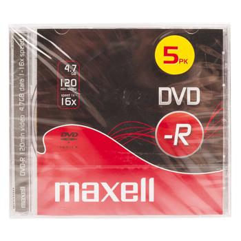 produkt-foto van 'Maxell DVD-R - 4.7gb, 4x, per 5 dvd's'