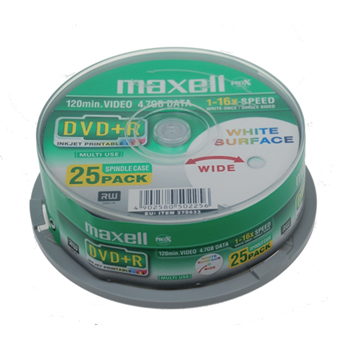produkt-foto van 'Maxell DVD+R - 4.7gb, 16x, spindle 25 dvd's printable'