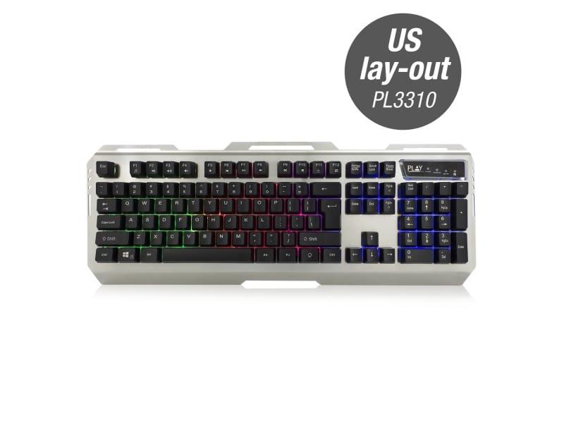 produkt-foto van 'Ewent Gaming Toetsenbord - Play Illuminated, us-indeling, zwart/grijs, bedraad'