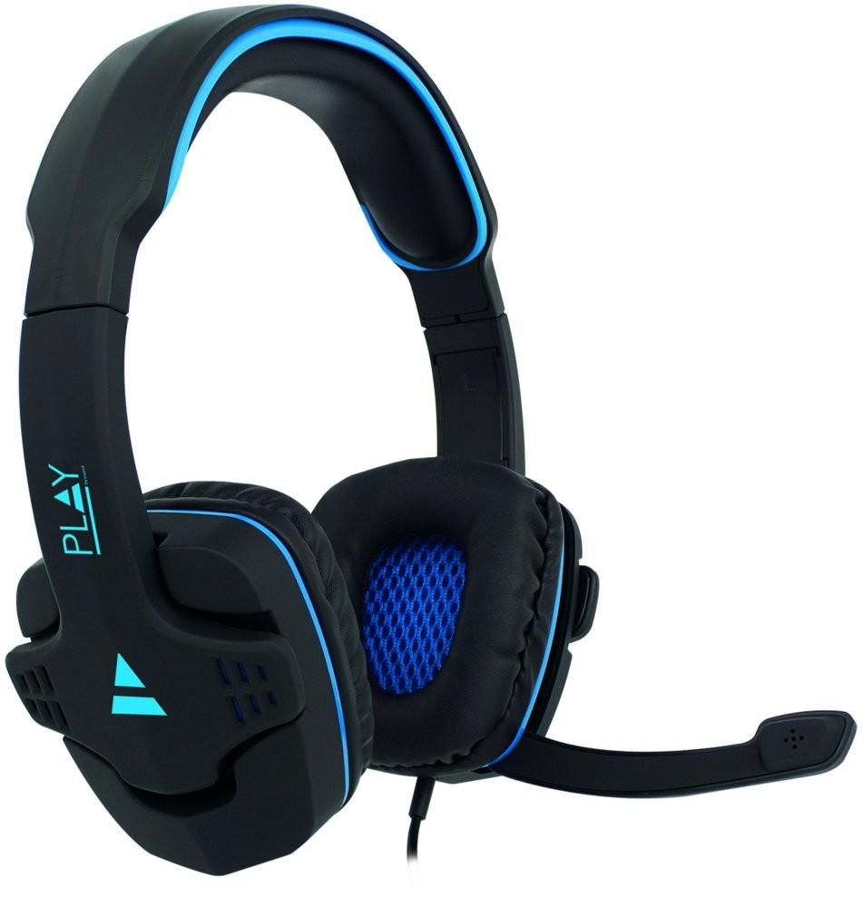 produkt-foto van 'Ewent Gaming Headset - Play Illumiated, incl. microfoon, zwart/blauw, bedraad'