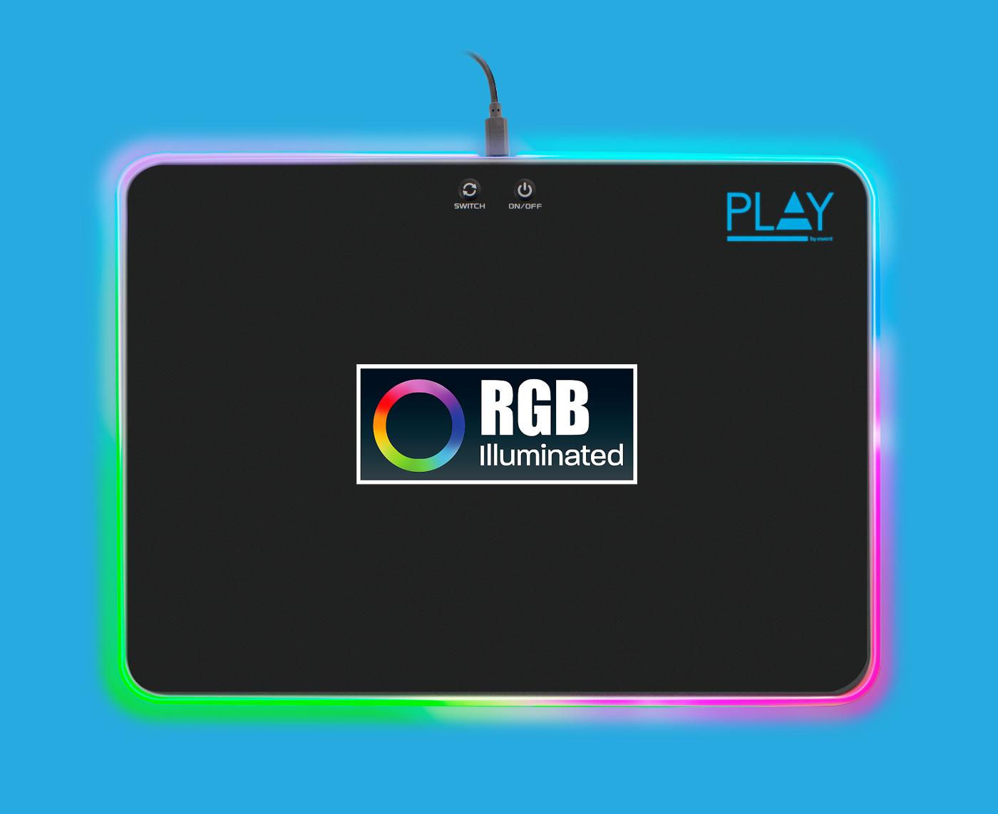 produkt-foto van 'Muismat - gaming, zwart + RGB, groot formaat'