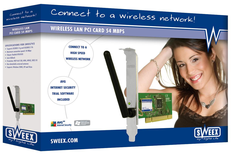produkt-foto van 'Sweex Wireless kaart 54g met Antenne (pci - 11 & 54mbit)'
