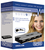 produkt-foto van 'Sweex USB 2.0 HUB (4-poorts - incl. voeding)'