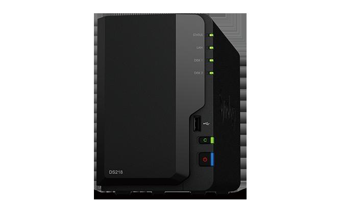 "produkt-foto van 'Synology NAS - ds218 , 2x bay 2.5/3,5"", 1x/2x USB 2/3, RAID Levels: 0, 1, JBOD'"