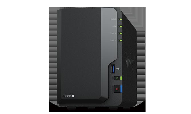 "produkt-foto van 'Synology NAS - ds218+ , 2x bay 2.5/3,5"", 1x/3x USB 2/3, RAID Levels: 0, 1, JBOD'"