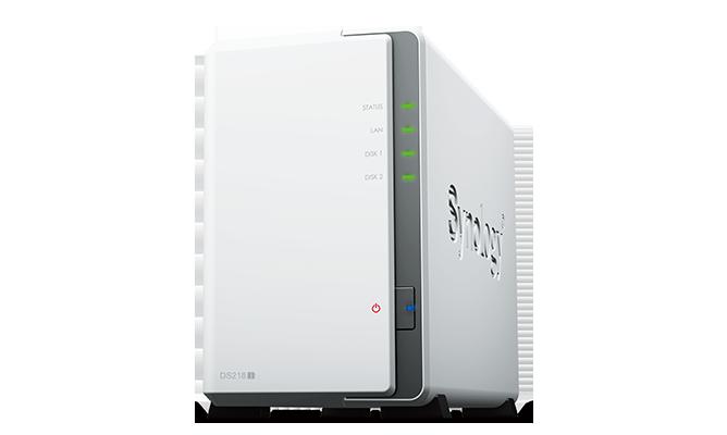 "produkt-foto van 'Synology NAS - ds218j , 2x bay 2.5/3,5"", 2x USB 3, RAID Levels: 0, 1, JBOD'"