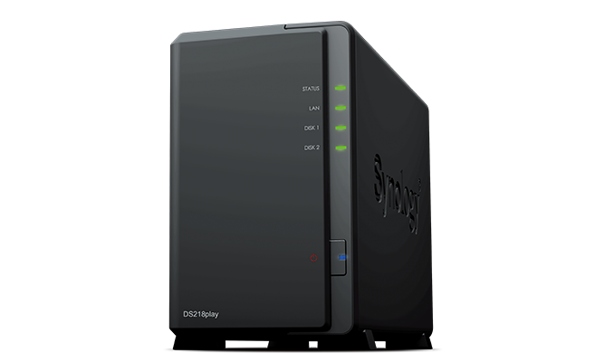 "produkt-foto van 'Synology NAS - ds218play , 2x bay 2.5/3,5"", 2x USB 3, RAID Levels: 0, 1, JBOD'"
