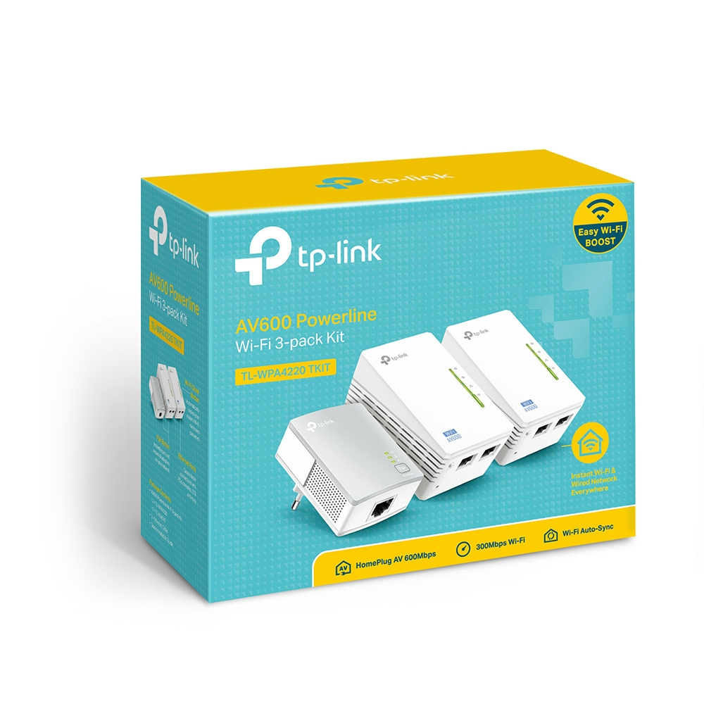 produkt-foto van 'TP-Link PowerLine - utp 1x + 2x + 2x, max. 300mpbs, starterskit van 3 stuks'