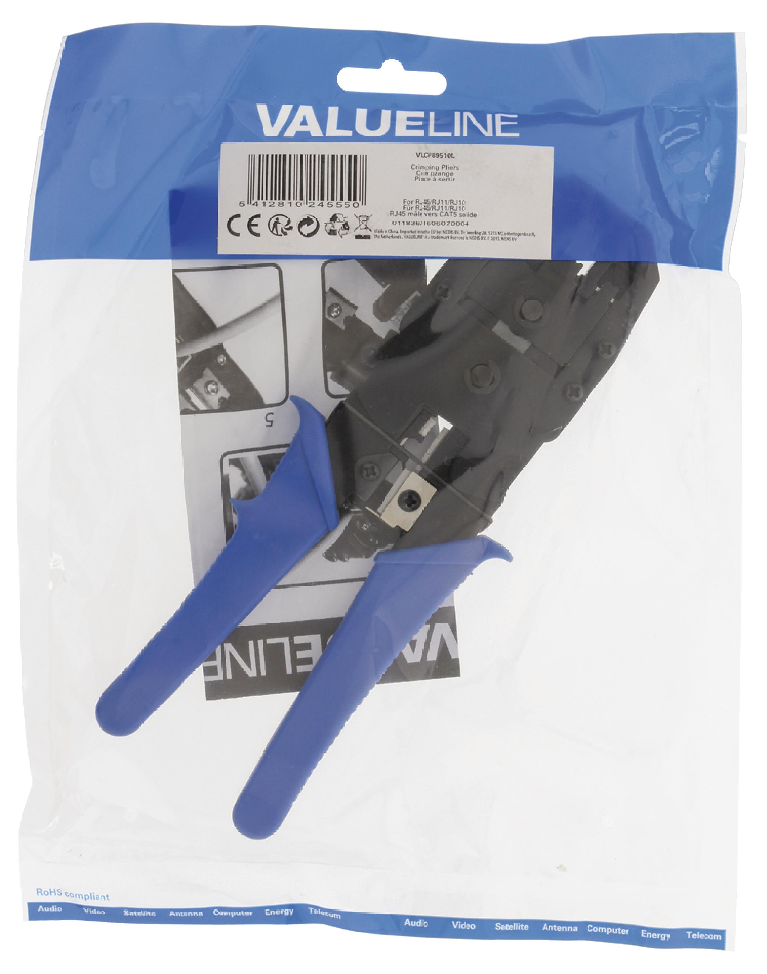 produkt-foto van 'UTP-tang - rj10 + rj11 + rj45 met ratel, valueline, blauw handvat'