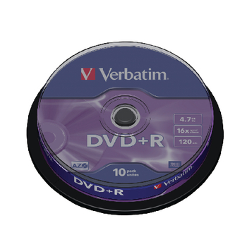 produkt-foto van 'Verbatim DVD+R - 4,7gb, 16x, spingle met 10 dvd's'