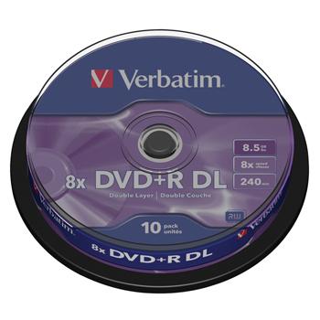 produkt-foto van 'Verbatim DVD-R Dual-Layer - 8x, 8,5gb, krasbestendig, per spindle van 10 stuks'