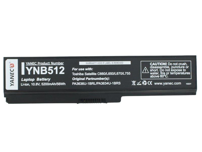 produkt-foto van 'Laptop Accu - 10.8-11.1v, 5.200mah, 57Wh, zwart, Yanec, Toshiba l6'